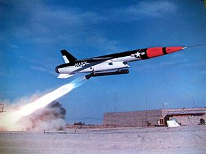 SSM-N-9 Regulus II - Regulus II test launch in 1957. The swept-forward Ferri-style intake can be seen, a design note found on a number of contemporary designs like the F-105.