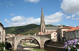 Saint-Affrique - The bridge and church in Saint-Affrique