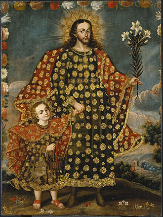 Saint Joseph and the Christ Child, Anonymous Colonial Cusco School painting, 17th-18th century Saint Joseph and the Christ Child - Google Art Project.jpg