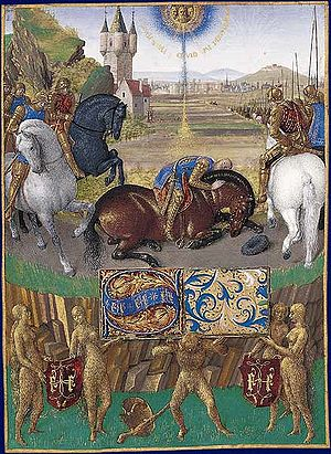 Conversion of Paul the Apostle - Illumination depicting Paul's conversion, from Livre d'Heures d'Étienne Chevalier (c. 1450–1460), a book of hours by Jean Fouquet now in the Château de Chantilly
