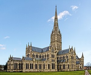 Architecture of cathedrals and great churches - Salisbury Cathedral from the east. 1220–1380. An essay in Early English Gothic with the tallest spire in England.