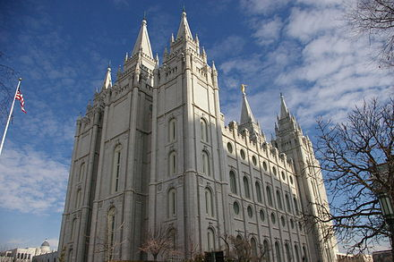 The LDS Salt Lake Temple, the primary attraction in the city's Temple Square Salt Lake LDS Temple.jpg