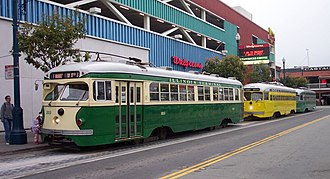 PCC streetcar - Image: San Francisco F line streetcars at Jones