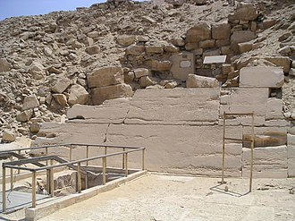 Pyramid of Unas - Modern entrance to the pyramid substructures (bottom left)