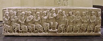 Gallo-Roman culture - Gallo-Roman Christian sarcophagus, Rignieux-le-Franc (Ain), end of fourth century. Louvre Museum.