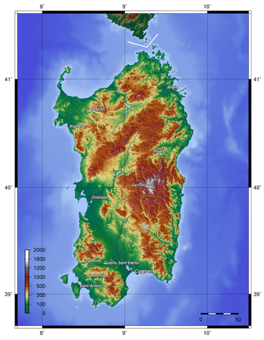 Topographic map of Sardinia - Sardinia