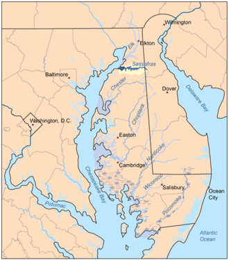Sassafras River - The Sassafras River and its watershed is highlighted in yellow on this map of the rivers of the Eastern Shore of Maryland