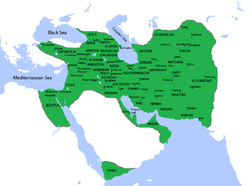 The Sasanian Empire at its greatest extent, unner Khosrau II