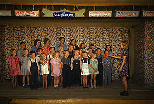 Pie Town, New Mexico - Image: School children singing. Pie Town, New Mexico, October 1940