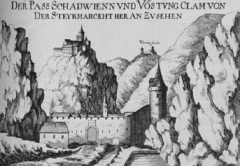 File:Schottwien und Burg Klamm, Kupferstich,G.M.Vischer, 1672.png