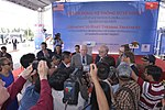 Senator Patrick Leahy speaks to local reporters at the ceremony to urn on the treatment system at Danang Airport (13941140671).jpg
