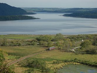 Kushiro-shitsugen National Park - Train passing through, Kushiro Wetlands, in Hokkaido, Japan