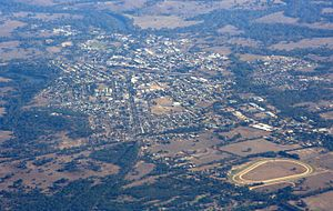Seymour, Victoria - Aerial view from the east, Goulburn River to the left, railway running left to right in the centre