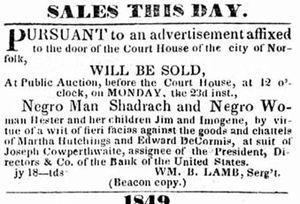 Shadrach Minkins - Advertisement for sale of Shadrach Minkins, 1849