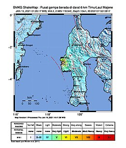 Shake map of 2021 Majene earthquake.jpg
