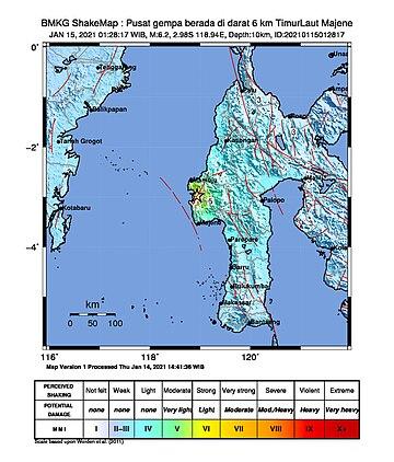 Shake map of 2021 Majene earthquake.jpg