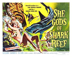 She Gods of Shark Reef - Theatrical release poster with artwork by Reynold Brown