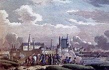 Gravure d'époque, un groupe d'hommes armés devant les remparts de la ville.