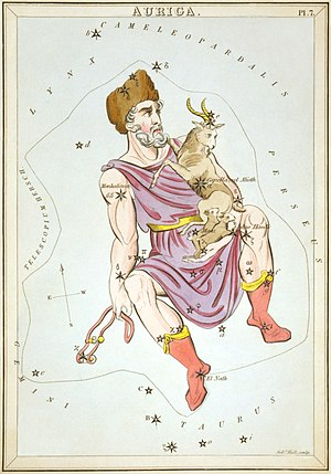 Auriga (constellation) - Auriga carrying the goat and kids as depicted in Urania's Mirror, a set of constellation cards illustrated by Sidney Hall, London circa 1825.