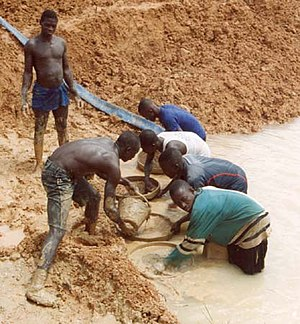 Diamonds Are Forever (novel) - Sierra Leonean miners panning for diamonds