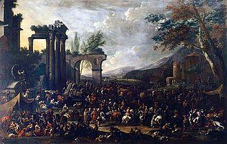 Simon Johannes van Douw - Italianizing Capriccio with Market Scene
