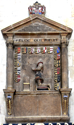 Peter Carew - Mural monument to Carew in Exeter Cathedral: erected by John Hooker (d.1601), whose own arms appear on the two console brackets