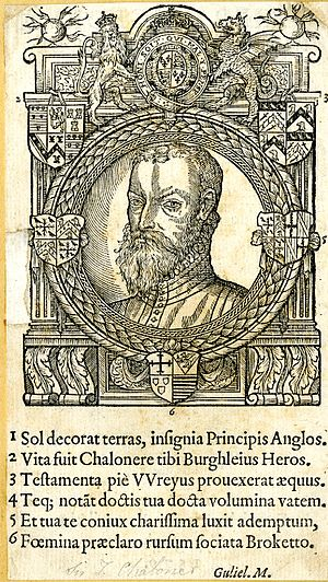 Thomas Chaloner (statesman) - Woodcut portrait of Sir Thomas Chaloner, frontispiece to his 1579 De Rep. Anglorum instauranda libri decem.