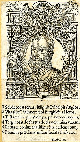 Thomas Chaloner (statesman) - Woodcut portrait of Sir Thomas Chaloner, frontispiece to his 1579 De Rep. Anglorum instauranda libri decem.
