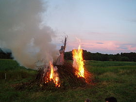 Danish bonfire with with the traditional burning of a witch
