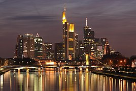 The skyline of Frankfurt at dusk