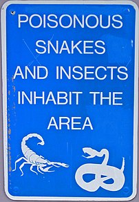 Arizona, poisonous snake warning sign.