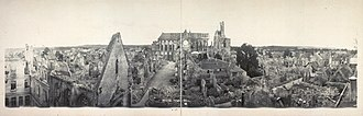 Soissons - Panorama of Soissons in ruins in 1919