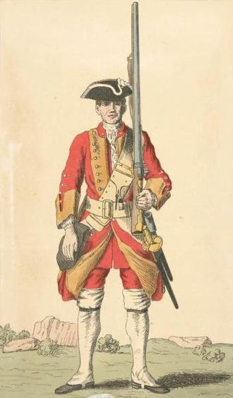 45th (Nottinghamshire) (Sherwood Foresters) Regiment of Foot - Image: Soldier of 45th regiment 1742