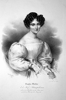 Sophie Müller, a lithograph by Josef Kriehuber, 1830. (Source: Wikimedia)