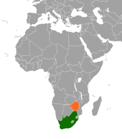 Map indicating locations of South Africa and Zimbabwe