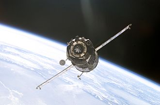 2002 in spaceflight - Soyuz TMA-1, the first Soyuz-TMA spacecraft, approaches the International Space Station in November