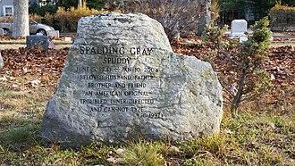 Oakland Cemetery (Sag Harbor, NY) - Image: Spalding Gray Gravestone