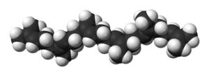 Squalene-hopene cyclase - Space-filling model of the squalene molecule