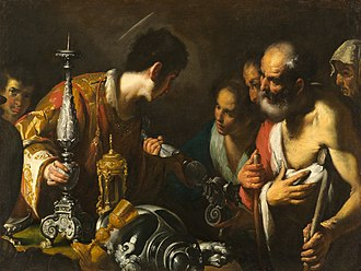 Saint Lawrence - St. Lawrence Distributing the Treasures of the Church by Bernardo Strozzi