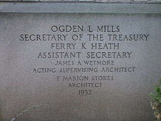 Ogden L. Mills - Corner stone of a post office dedicated during Mills' tenure as Treasury Secretary.