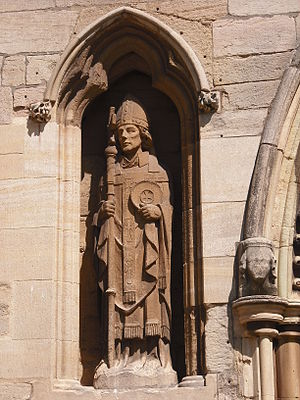 Wulfram of Sens - St. Wulfram statue at his church in Grantham, Lincolnshire.