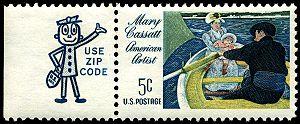 Mr. ZIP - Zippy attached to a 1966 Mary Cassatt stamp.