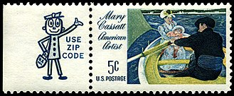Mr. ZIP - Zippy attached to a 1966 Mary Cassatt stamp.