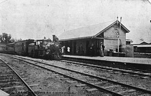 Western railway line, Queensland - Mail train arriving at Chinchilla, 1908