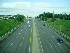 Steeles Avenue - Steeles Avenue West, viewed from the railway bridge which crosses above the road between Keele and Dufferin Streets.
