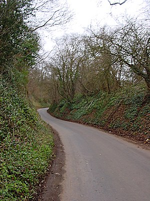 Steep winding road. The road is narrow and cli...