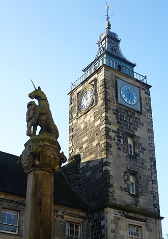 Radical War - Stirling Tolbooth and Cross where a plaque commemorates Baird and Hardie