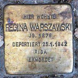 Photo of Regina Warszawski brass plaque