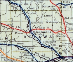 Stouffer's Railroad Map of Kansas 1915-1918 Ottawa County