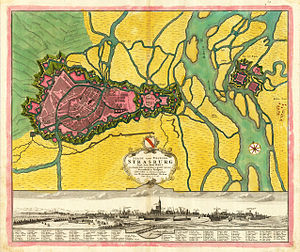 Second Battle of Kehl (1796) - Map shows the geographic relationship between Kehl and Strasbourg.  Petrasch controlled the territory surrounding Kehl, on the east side of the river.  This prevented Moreau from using the bridge at Kehl to cross the Rhine to safety in France.